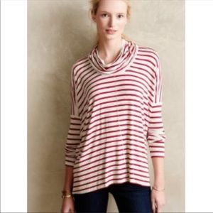 Anthropologie Bordeaux red stripe cowlneck top